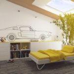 Dormitor de copii cu parchet antichizat si desene pe pereti