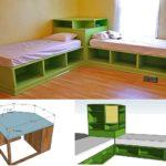 Mobilier multifunctional verde cu rafturi deschise