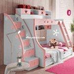 Mobilier multifunctional alb cu roz cu doua paturi