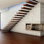 Scara minimalista cu trepte din lemn in perete