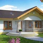 Casa fara etaj cu soclu galben si piatra decorativa