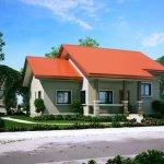 Casa gri cu acoperis portocaliu