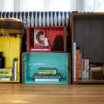 Cutii colorate din lemn refolosite