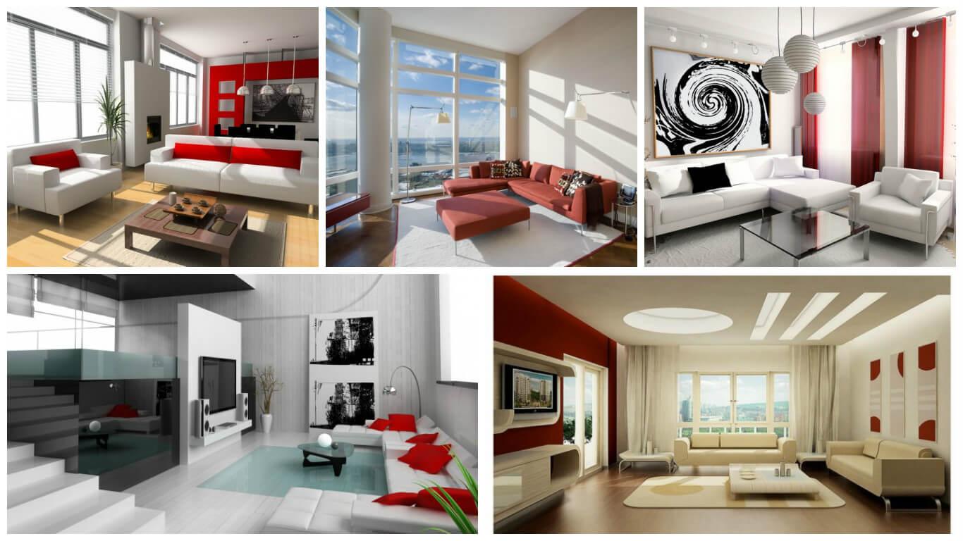 Livinguri moderne cu accente rosii