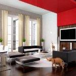 Living cu scafa rosie si perete decorativ cu lemn