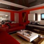 Open space rosu cu accente albe si tavan extensibil