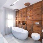 Perete decorativ din panouri din lemn in baie