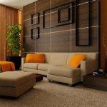 Perete din panouri din lemn si tevi decorative