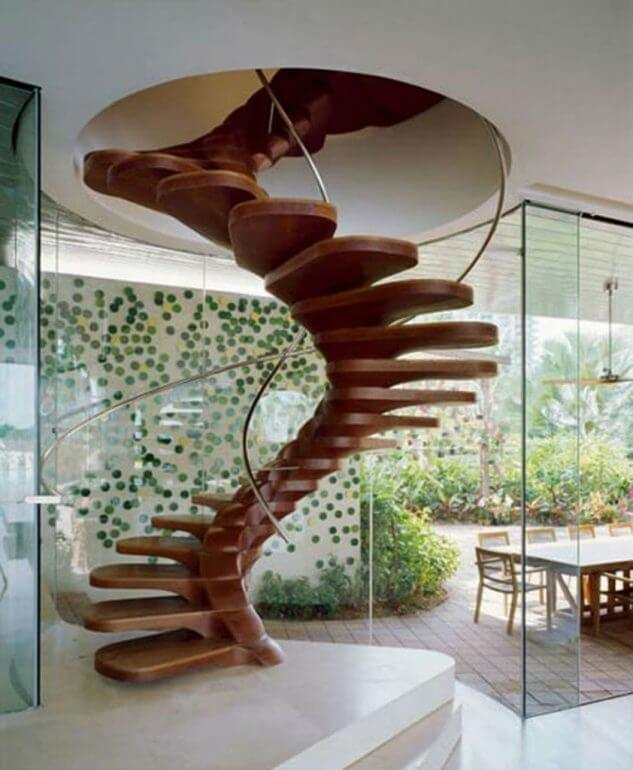 Inspiring Spiral Staircase: Attractive-home-design-inspiration-with-brown-wooden