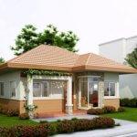 Casa mica cu acoperis maro si stalpi decorativi