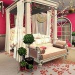 Dormitor alb cu rosu cu baldachin extravagant