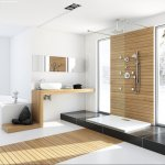Baie alba moderna cu accente din lemn