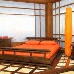 Dormitor japonez cu elemente din lemn