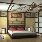 Dormitor bej cu tavan si pereti casetati