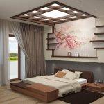 Dormitor cu pat jos, luminator si rafturi decorative