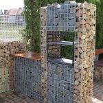 Mobilier de bucatarie in aer liber din gabioane