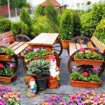Mobilier rustic din lemn pentru terasa