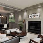 Living clasic cu profile decorative pentru pereti