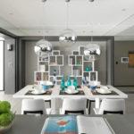 Dining cu design modern si lustre pendul