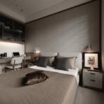 Dormitor in nuante neutre cu birou minimal