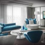 Living mare alb cu mobila albastra