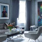 Living modern albastru cu tablou mare
