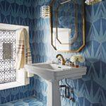 Gresie si faianta hexagonala albastra in baie